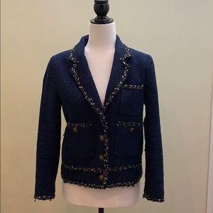NWOT Zara woman tweed blazer jacket navy blue sm